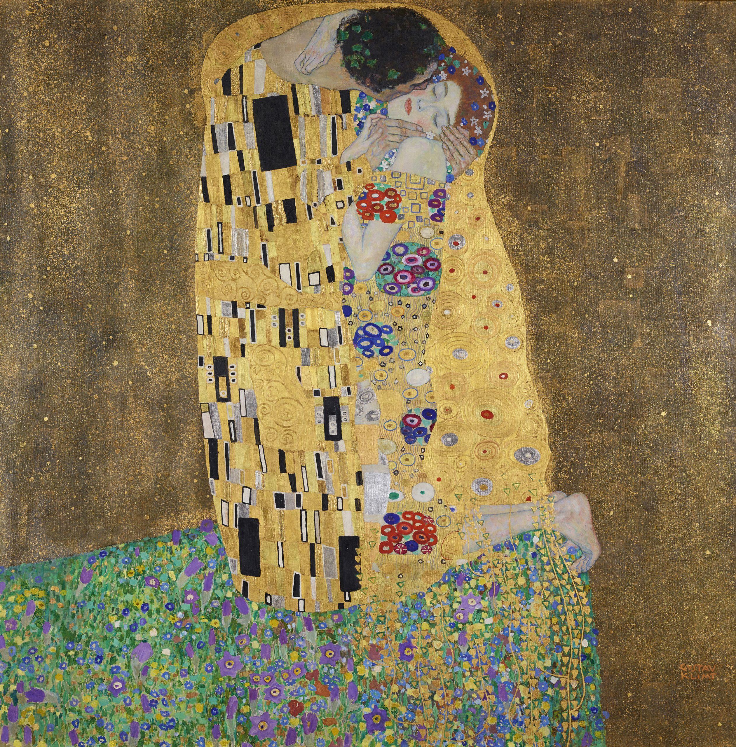 Gustav Klimt, Der Kuss (Liebespaar), 1908 (vollendet 1909)/Belvedere, Wien